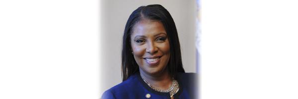 Banner with Letitia James